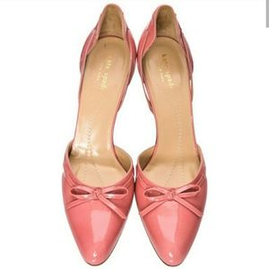 Kate Spade Patent Leather D'Orsay Coral Pumps
